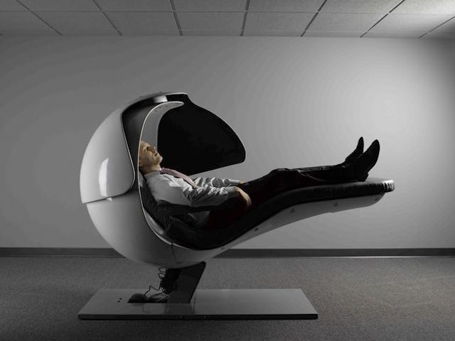 lack of sleep and leaders - a professional man sleeping in a nap pod