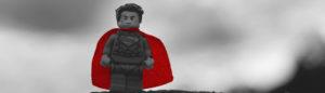 lego superhero with a cape