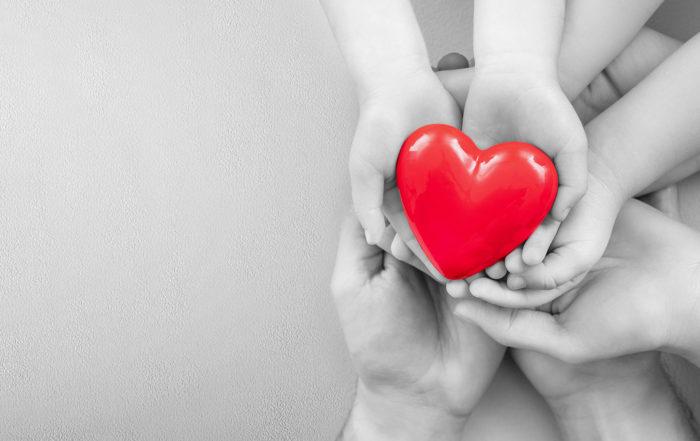 a bunch of hands holding a heart